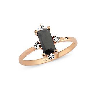 Baguette farget stein gull ring