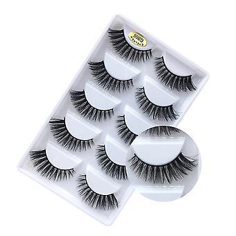 3D False Eyelashes, Faux Mink Fake Eyelashes Handmade Nature Fluffy Soft Lashes Pack 5 Pairs