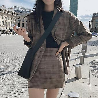 Skirt Suit Female, Office Ladies Blazer, Retro Plaid Set Single-breasted Jacket