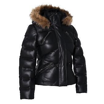 Women's Joselyn Black Puffer Winter Down Leather Jacket