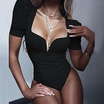 Vintage Sexy Solid White Black Bodysuits Women Summer Party Club