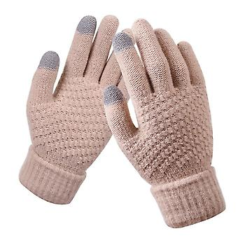 Winter Touch Screen Gloves, Warm Stretch Knit Mittens, Imitation, Wool Full