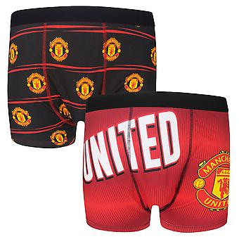 Manchester United Mens Boxer Shorts Crest 2 Paire Pk CADEAU DE FOOTBALL OFFICIEL