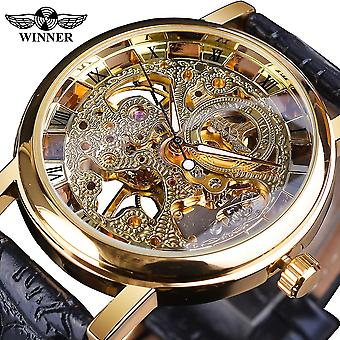 Transparent Golden Case, Casual Design, Brown Leather Strap, Watches Mechanical