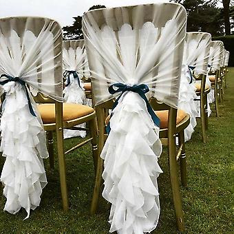 White Chiffon Cover Hood With Ruffle Sashes For Weddings Events Party