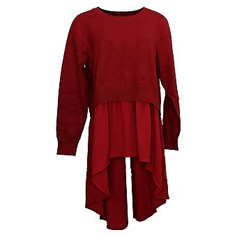 DG2 Par Diane Gilman Women's Sweater Woven Knit Hi Low Peplum Red 716-488
