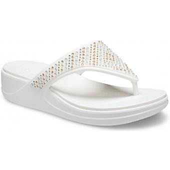 Crocs 206843 Monterey Shimmer Ladies Toe Post Sandals Oyster