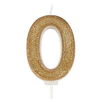 Kultainen kimalteleva numerokynttilä - numero 0 - 70mm