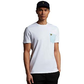 Lyle & Scott Contrast Pocket T-Shirt - White/Deck Blue