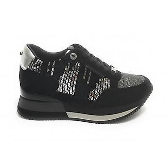 Running Sneaker Apepazza Rebecca Fondo Zeppa In Black Suede Woman D21ap03