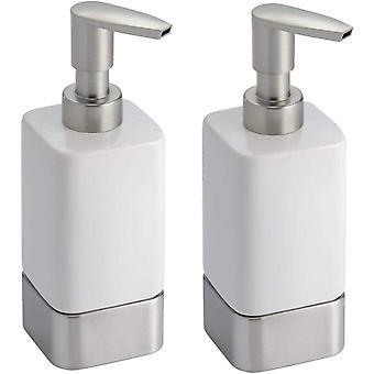 mDesign Liquid Hand Soap Ceramic Dispenser Pump Bottle for Kitchen, Bathroom  