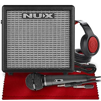 Nux mighty 8bt 8-watt portable electric guitar amplifier with bluetooth, guitar and microphone channels, accessories bundle with dynamic ps16551