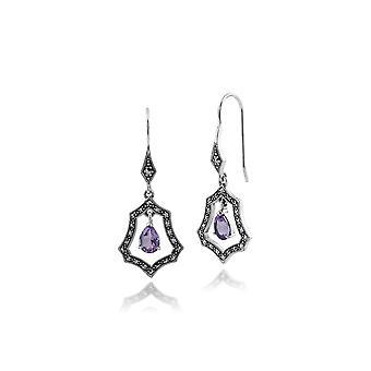Art Nouveau Style Pear Amethyst & Marcasite Halo Drop Earrings in 925 Sterling Silver 214E755301925