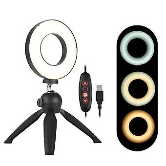 Docooler Portable 4.6 Inch LED Ring Light Lamp 3 Light Modes Dimmable Brightness