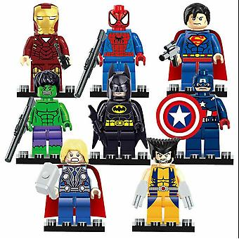 8pcs Avengers Superheroes Batman Hulk Superman Mini Figures Building Blocks Jouets