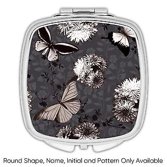 Gift Compact Mirror: Retro Style Pattern Black