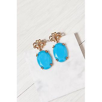 Fleur De Lis Blue Statement Earrings