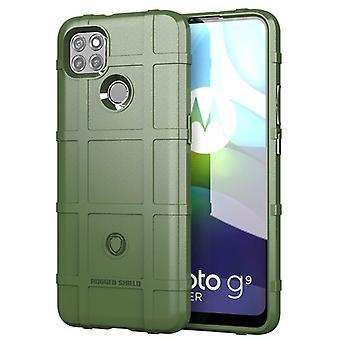 Tpu carbon fibre case for moto g9 plus green mfkj-1738
