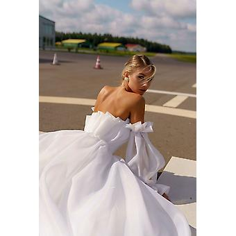 Sexy Backless Puff Ärmel Strand Braut Kleid