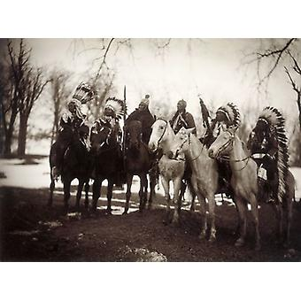 NATIVE AMERICAN CHIEFS. Six tribal chiefs, in ceremonial attire. Left to right:. Framed Photo..