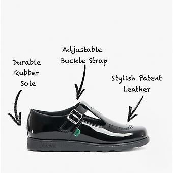 Kickers Fragma T-spänne Flickor Läder T-bar Skor Patent Svart