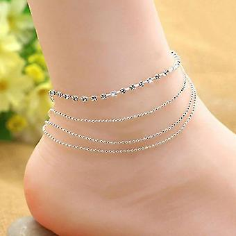 חדש sm2153-7 נשים כפול רגל cavigliere כסף צבע שרשרת צמידי קרסול sm761