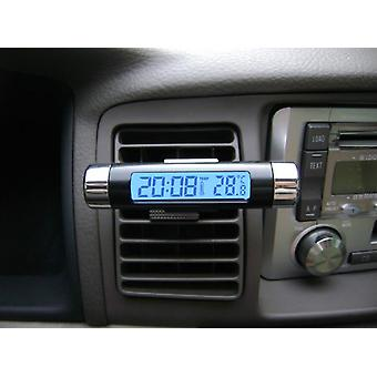 2 In 1 Lcd Display Thermometer Car Electronic Clock Type Of Air Outlet Clamp Electronic Clock Car Accessory