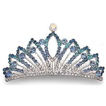 Rhinestone Crown Gradient Comb Crystal Head Tiara Bridal Cocar Codor de Cabelo Joias de Cabelo