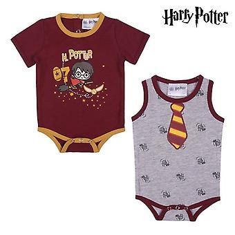 赤ちゃんの半袖ロンパーススーツハリーポッターグレーレッド(2 uds)