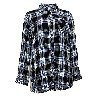 Tolani Collection Women's Top Plaid Tunic With Print Back Black A383438