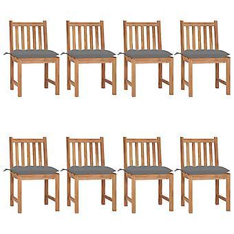 vidaXL sillas de jardín 8 piezas con cojín de madera maciza de teca