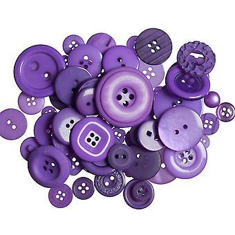 ÚLTIMOS POCOS - 60g Botones púrpura oscuro surtidos para artesanías   Coser la fabricación de tarjetas de scrapbooking