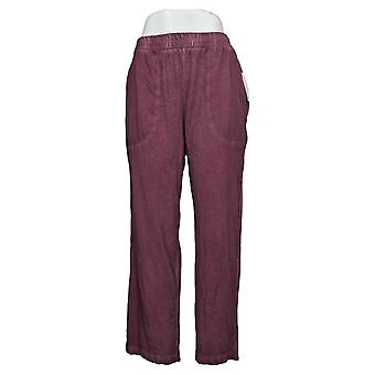 LOGO by Lori Goldstein Women's Pants Reg Distressed Ankle Red A397394