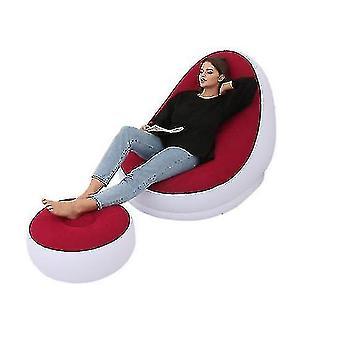 Canapé gonflable de loisirs Chaise et repose-pieds extérieur pliant Chaise longue Canapé Floqué Canapé paresseux (ROUGE)