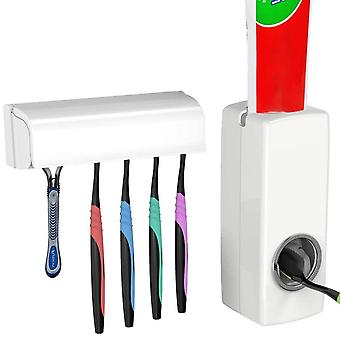 Toothbrush Holder With Cover Automatic Toothpaste Dispenser Set