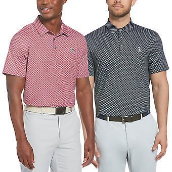 Original Penguin Mens 2021 Micro Geo Tryckt Pete Logo Golf Polo Shirt