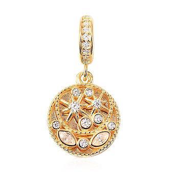 Charmes De Memoire simuliert Diamant Cluster Charme in vergoldeten Silber Charme