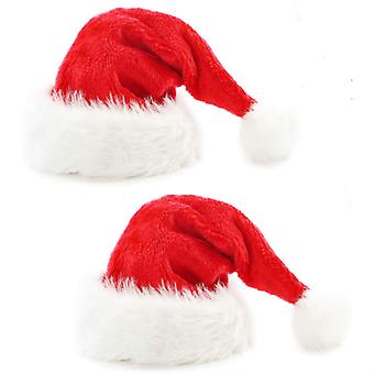 Mimigo 2pcs Christmas Hat, Santa Hat, Xmas Holiday Hat For Adults , Unisex Velvet Comfort Christmas Hats Extra Thicken Classic Fur For Christmas New Y
