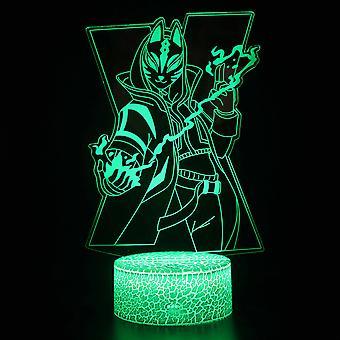 Enfants Cadeau Fortnite Night Light Touch Sensor Chambre 3d Illusion Night Light Ledanime Lampe Colorée Télécommande Night Light Home Gadgets