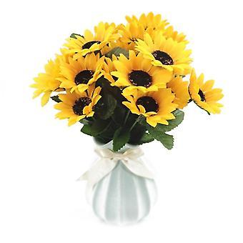 4 צרורות זר פרחים מלאכותי חמניות סידור, 28 פרחים, לעיצוב חתונה בבית