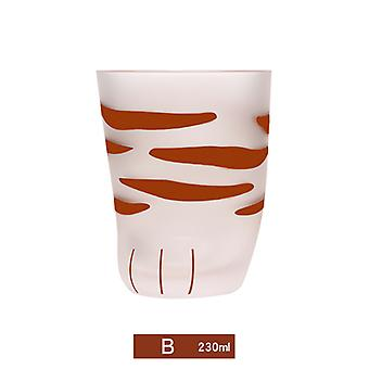 Cat Claw Frosted Glass Cup Milk Mug Tiger Skin Pattern Coffee Cup Gift