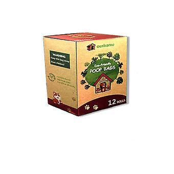 Sacos de cocô de cachorro de grande porte biodegradáveis extra grossos fortes biobases de resíduos amigáveis à terra 12 rolos não perfumados