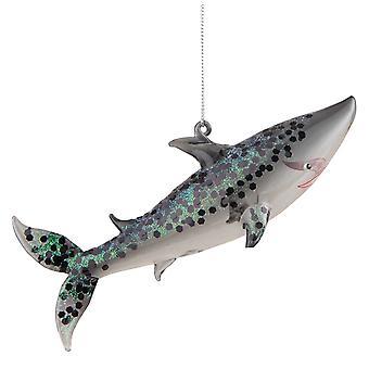 Glitterery Shark glas Christmas Ornament vakantie