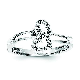 925 Sterling Silver Polished Diamond Love Heart Ring Jewelry Gifts for Women - Ring Size: 6 to 8