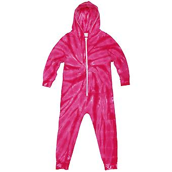 Colortone Childrens/Kids Full Zip Tonal Spider Die Tye Onesie