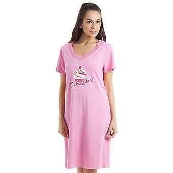 Camille White Polka Dot Delicious Cupcake Motif Pink Cotton Nightdress