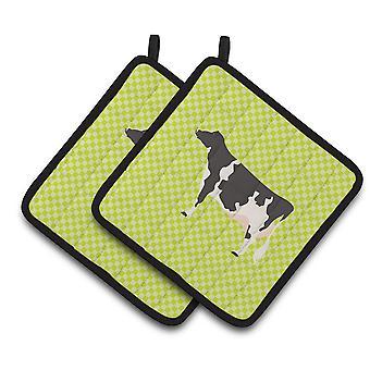 Carolines Treasures  BB7648PTHD Holstein Cow Green Pair of Pot Holders