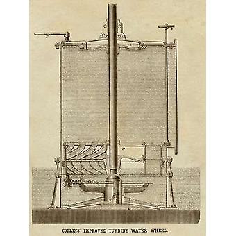 Collins melhorado turbina roda d'água Poster Print por invenções