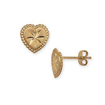 14k Gelb Gold Herz Stanzen für Jungen oder Mädchen Ohrringe - Maßnahmen 8x8mm