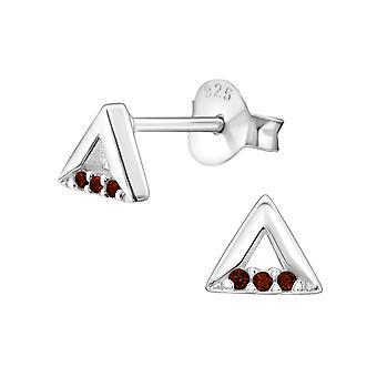 Triangle - 925 Sterling Silver Cubic Zirconia Ear Studs - W30790X